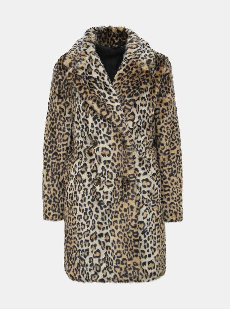 Světle hnědý kabát z umělé kožešiny s leopardím vzorem M&Co