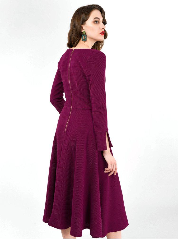 Vínové žebrované šaty Closet