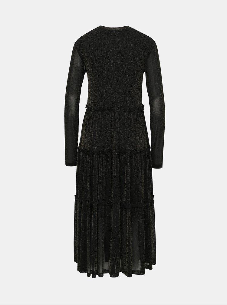 Čierne trblietavé šaty Noisy May Shimmy