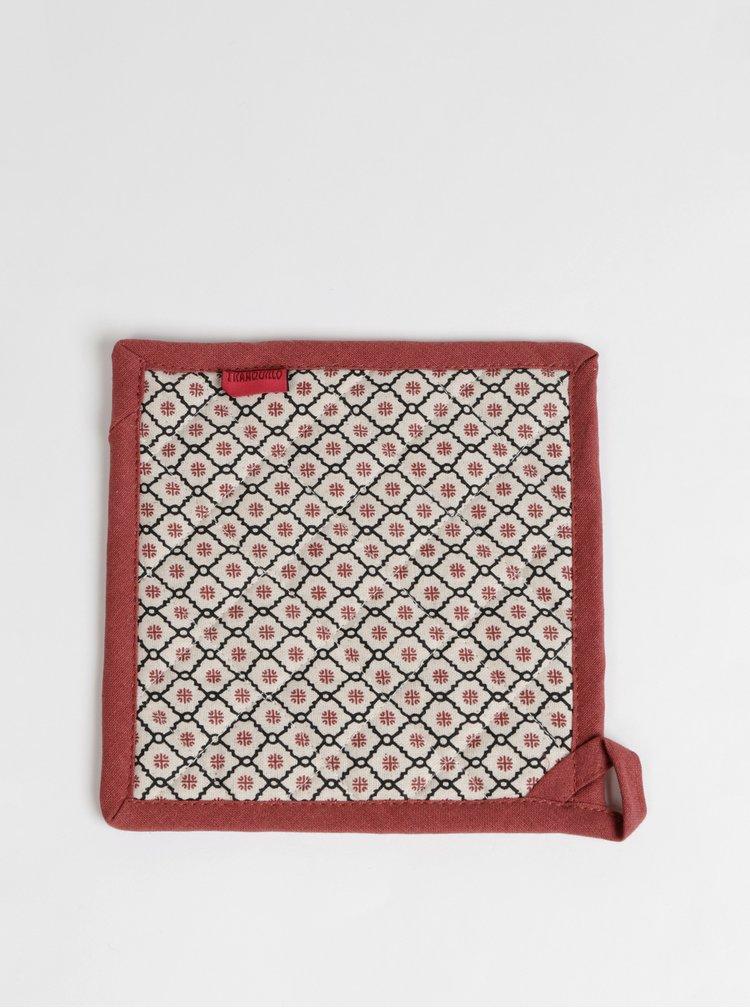 Červeno-béžová podložka pod hrniec Tranquillo Feliz