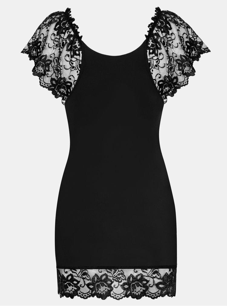 Set negru de camasa de noapte cu dantela si chiloti tanga Obsessive Imperia chemise