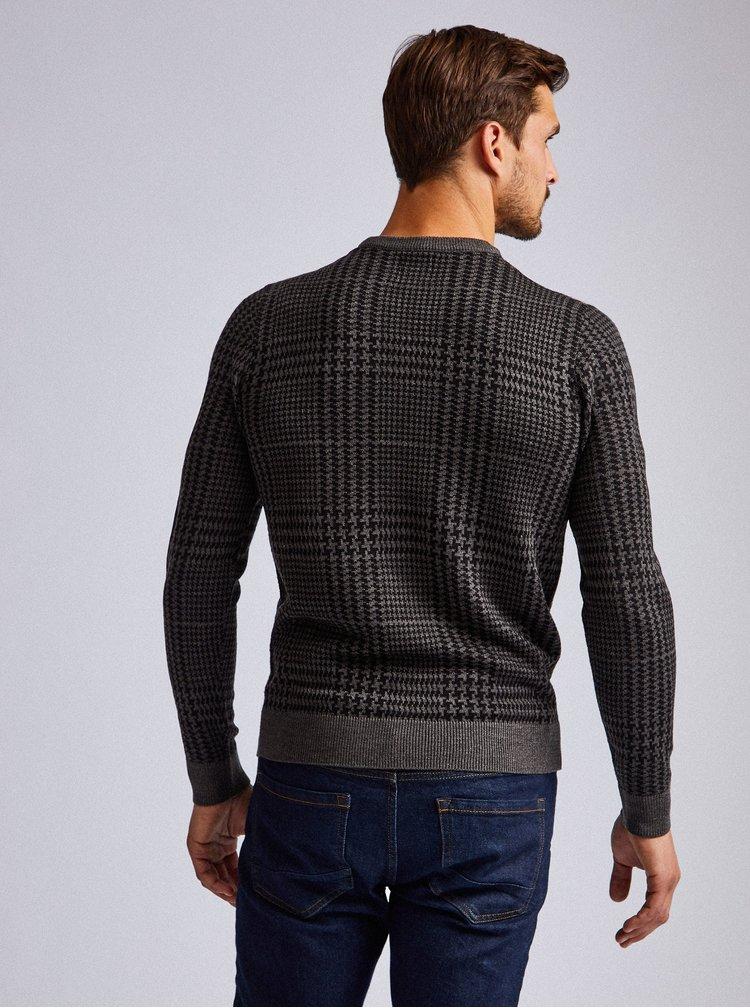 Tmavě šedý vzorovaný svetr Burton Menswear London Dogtooth