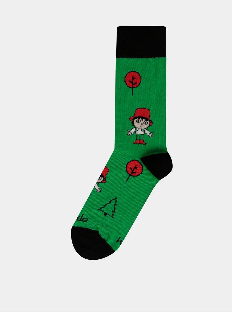 Zelené vzorované ponožky Fusakle Rumcajz