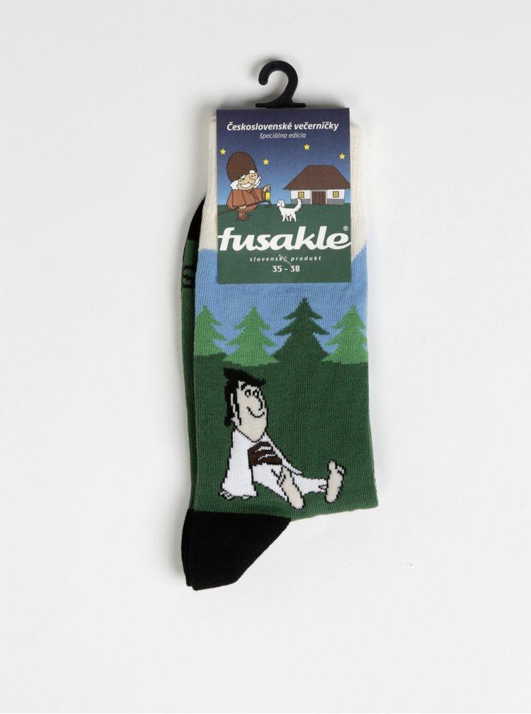 Zelené vzorované ponožky Fusakle Matko a Kubko