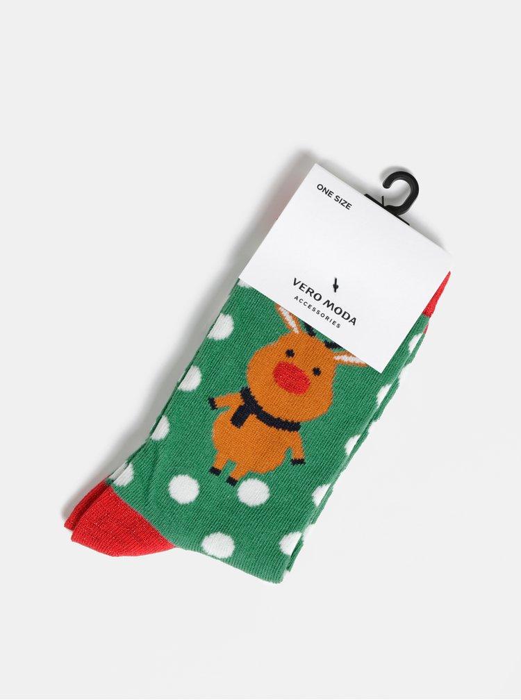 Zelené ponožky s vánočním motivem VERO MODA Frosty