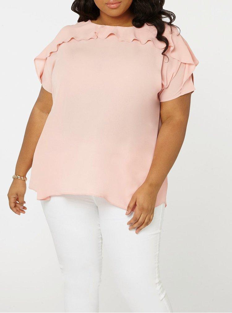 Bluza roz pal cu volane si decupaje Dorothy Perkins Curve