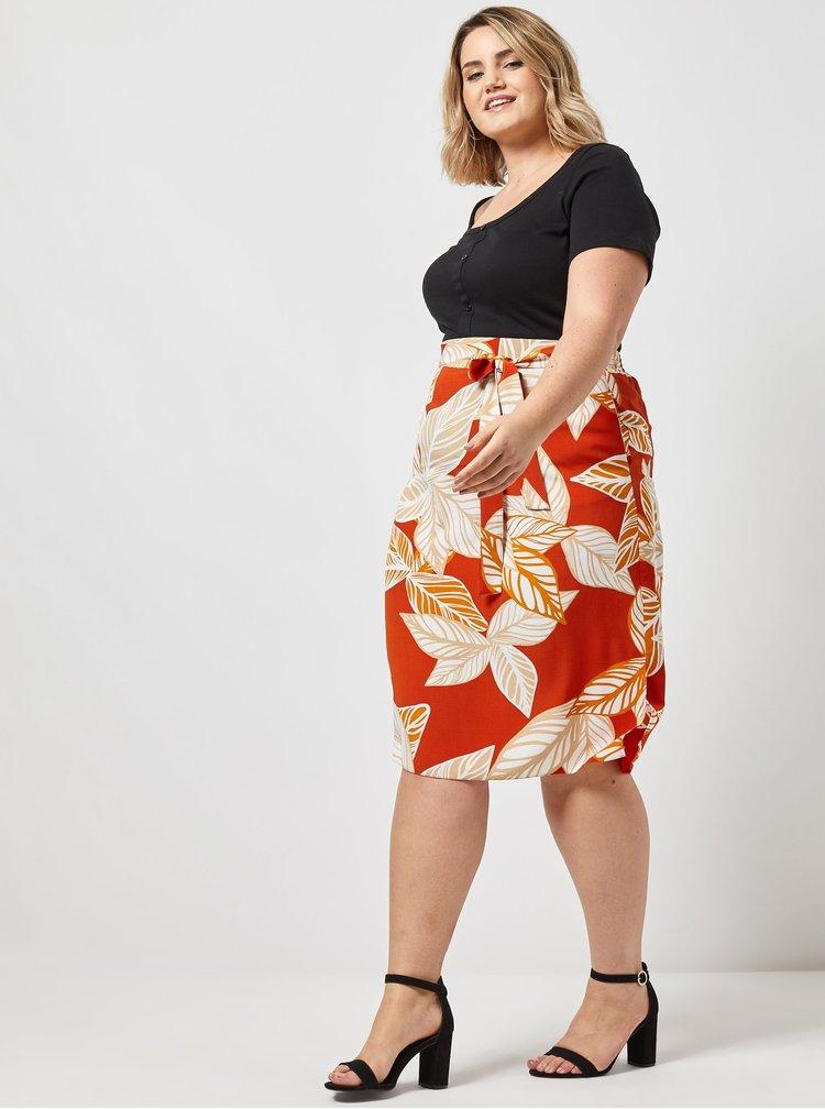 Oranžová vzorovaná sukňa Dorothy Perkins Curve
