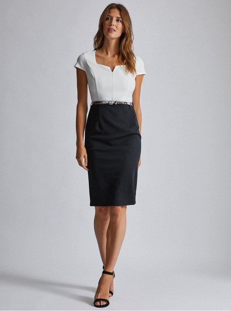 Čierno-biele púzdrové šaty s opaskom Dorothy Perkins