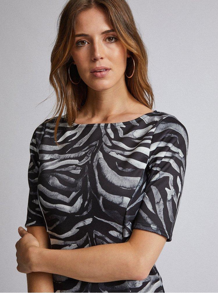 Šedé púzdrové šaty so zebrovaným vzorom Dorothy Perkins