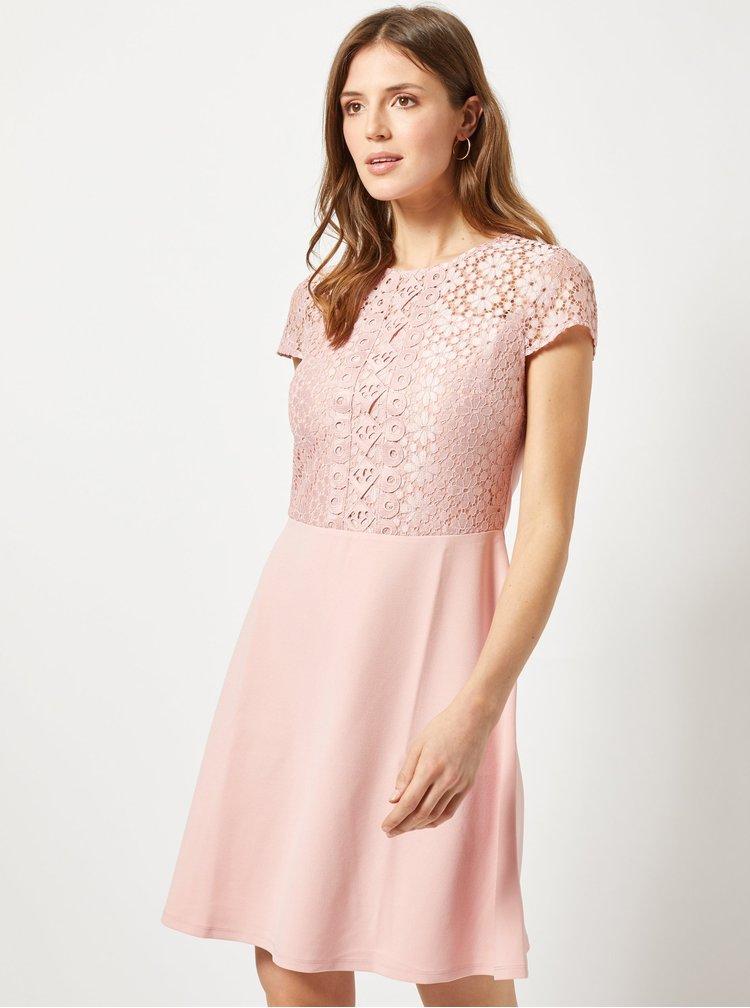 Růžové šaty s krajkou Dorothy Perkins