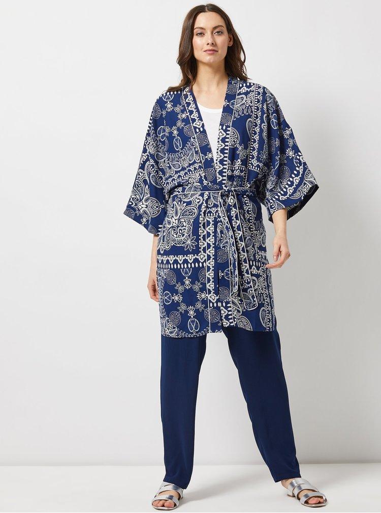 Tmavomodré vzorované kimono Dorothy Perkins