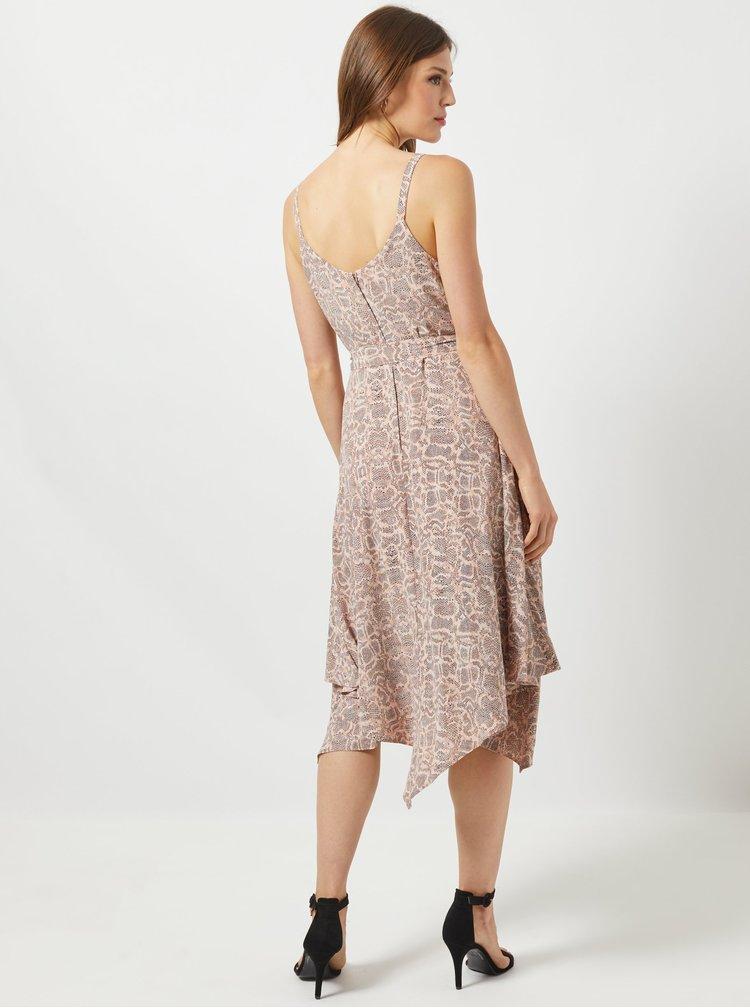 Světle růžové šaty s hadím vzorem na ramínka Dorothy Perkins