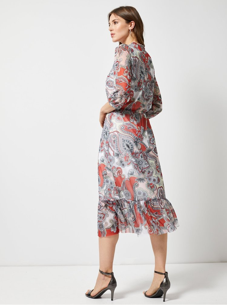 Rochie maxi rosu-gri cu model Dorothy Perkins