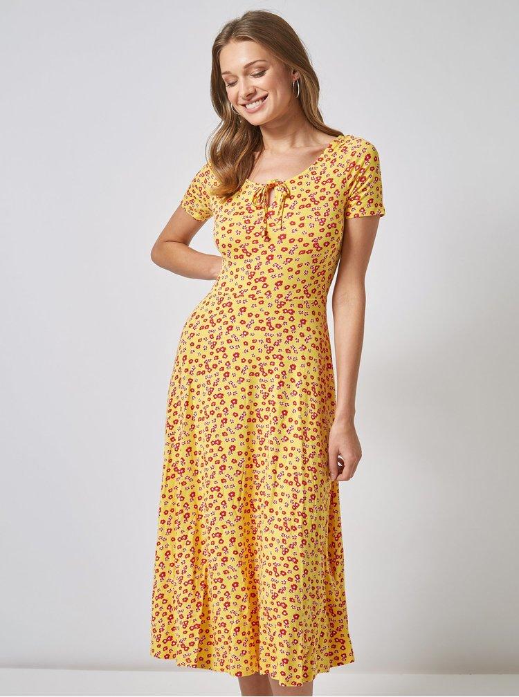 Žluté květované midišaty Dorothy Perkins