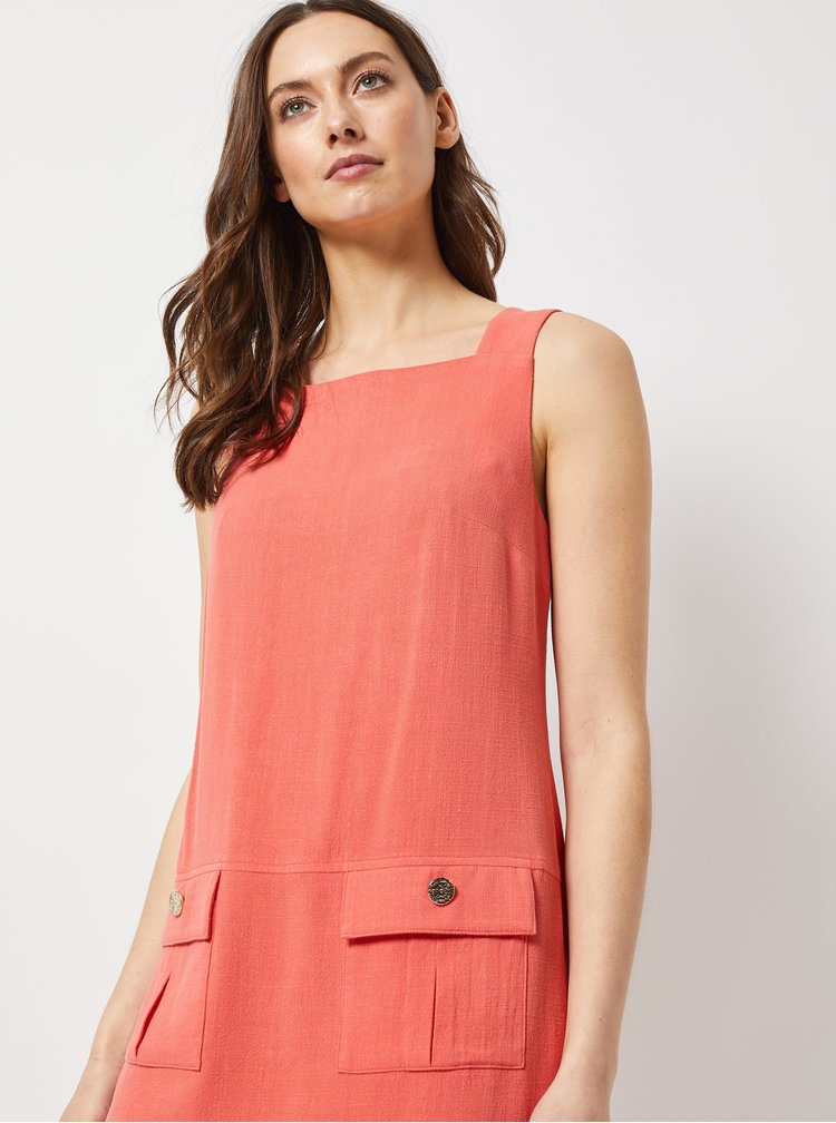Oranžové šaty s prímesou ľanu Dorothy Perkins