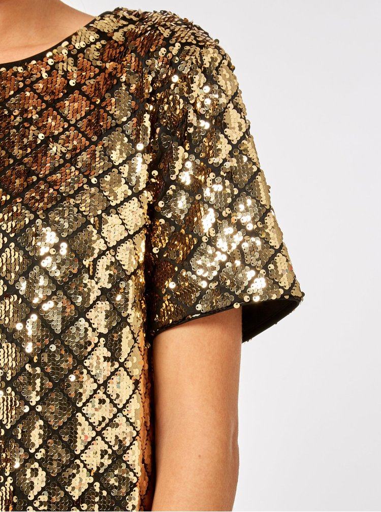 Flitrované kostkované minišaty ve zlaté barvě Dorothy Perkins