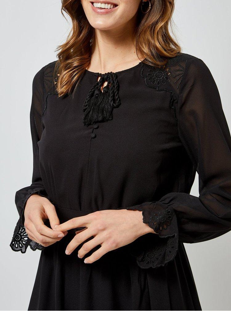 Čierne maxi šaty s priestrihom v dekolte Dorothy Perkins
