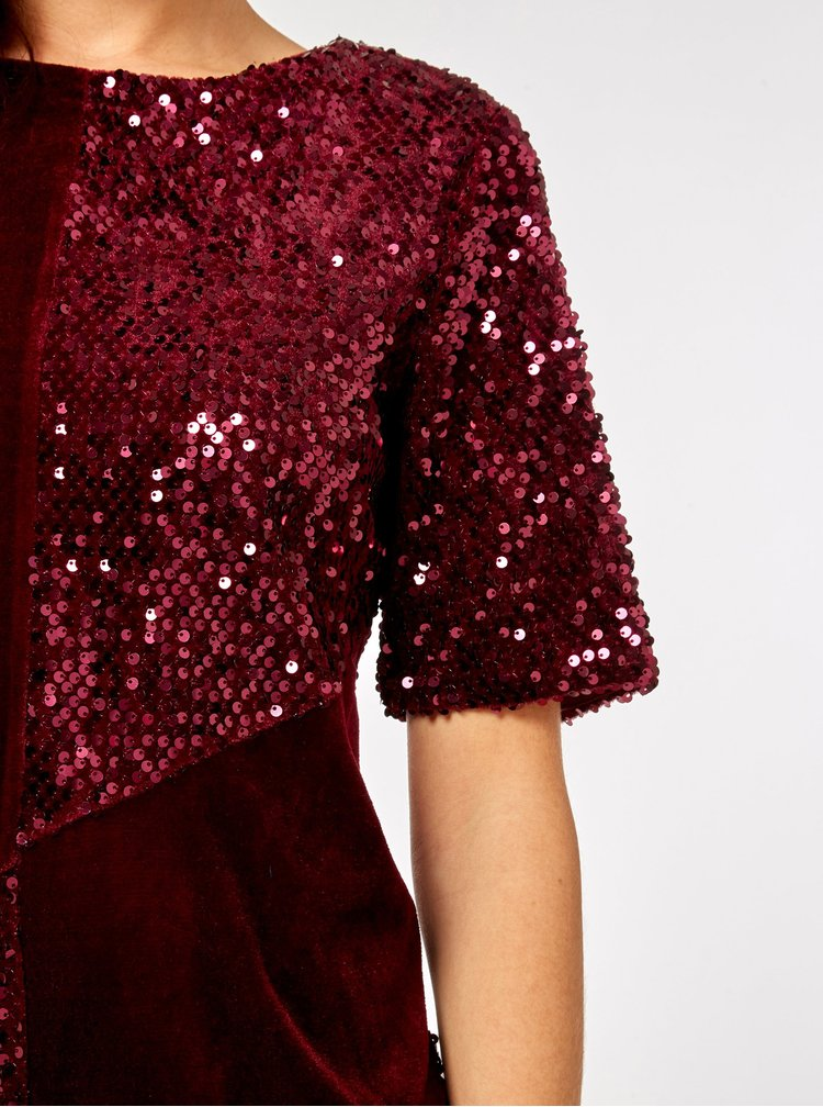 Vínové zamatové flitrované šaty Dorothy Perkins