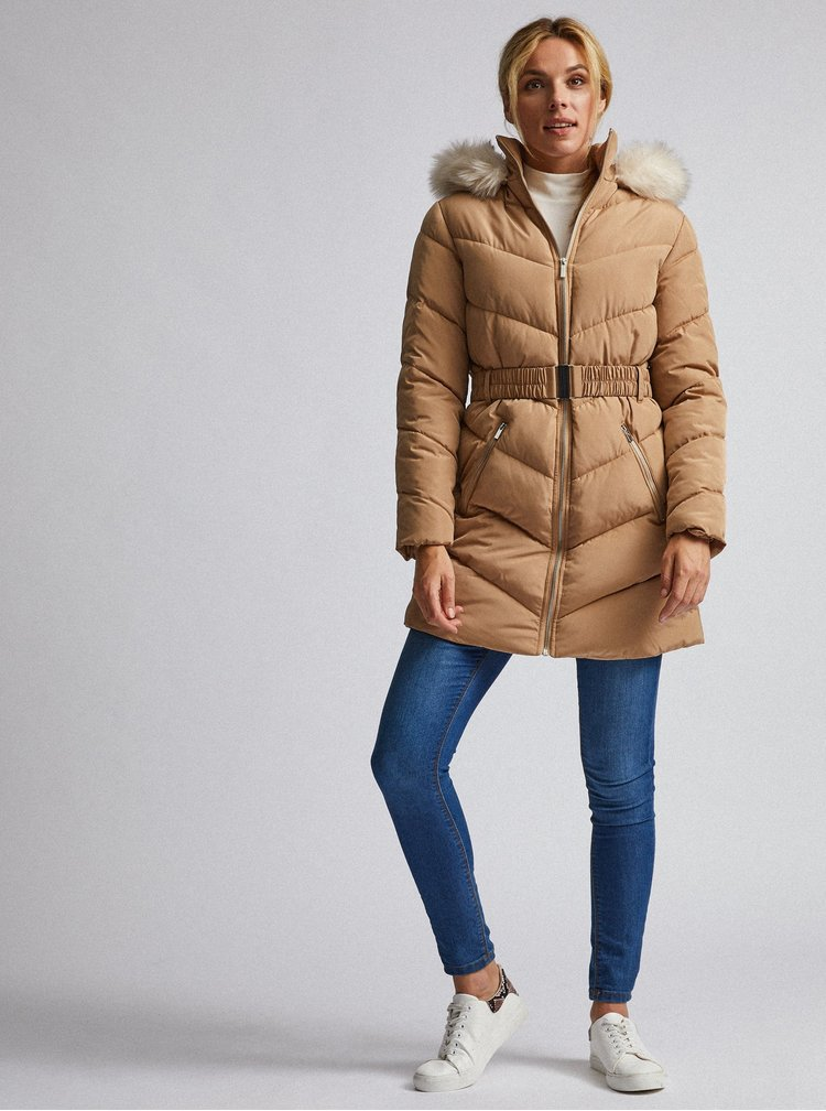Svetlohnedý prešívaný zimný kabát Dorothy Perkins