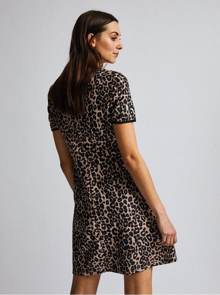 Čierno-hnedé šaty s leopardím vzorom v semišovej úprave Dorothy Perkins
