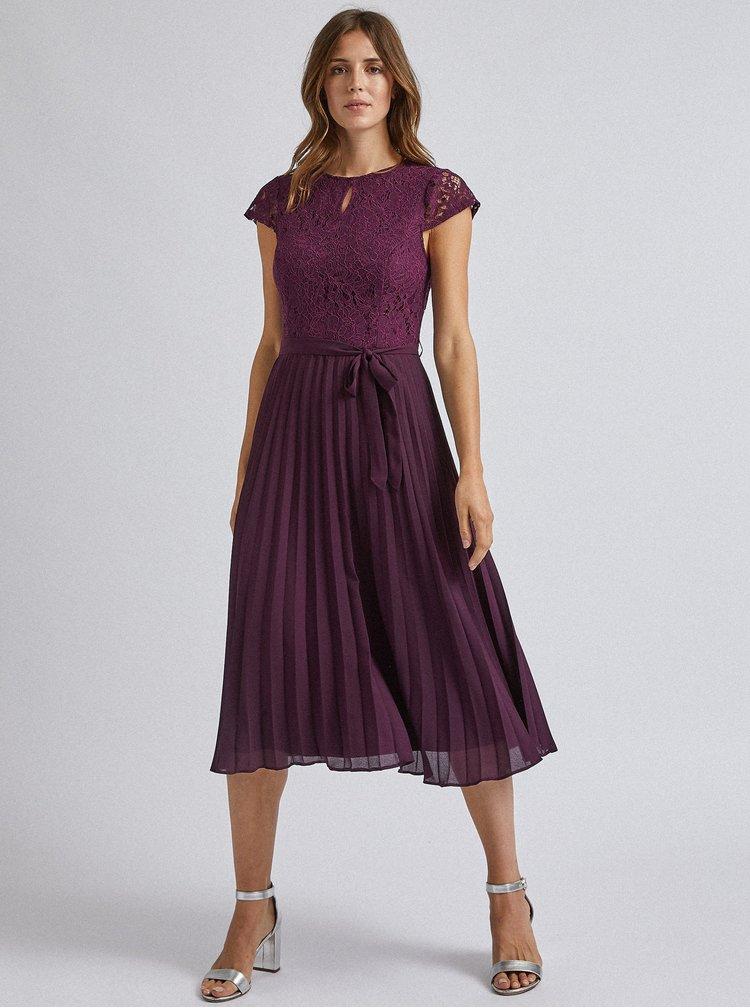 Fialové midišaty s plisovanou sukňou a priestrihom v dekolte Dorothy Perkins