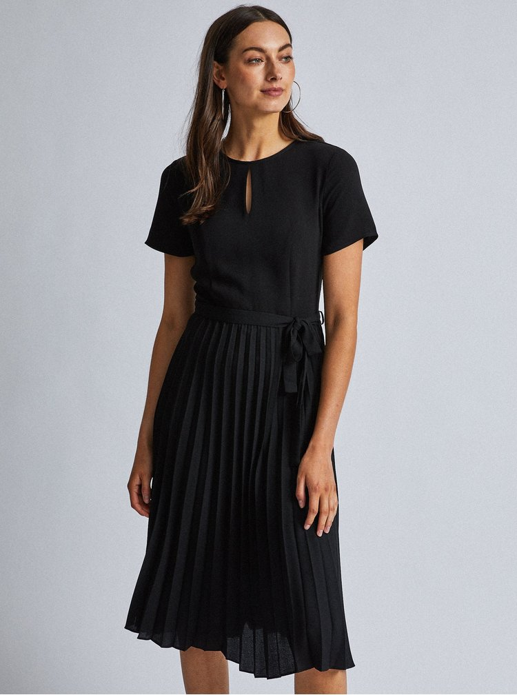 Černé midišaty s plisovanou sukní Dorothy Perkins