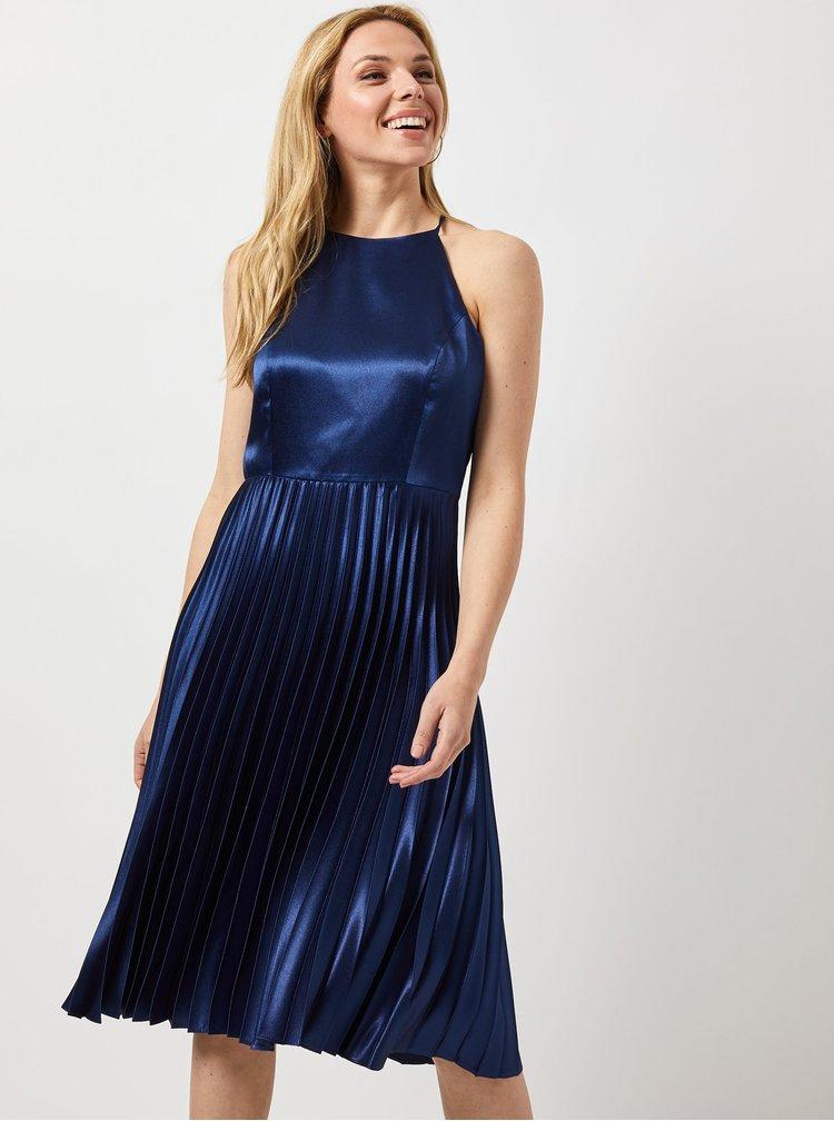 Tmavě modré midišaty s plisovanou sukní Dorothy Perkins