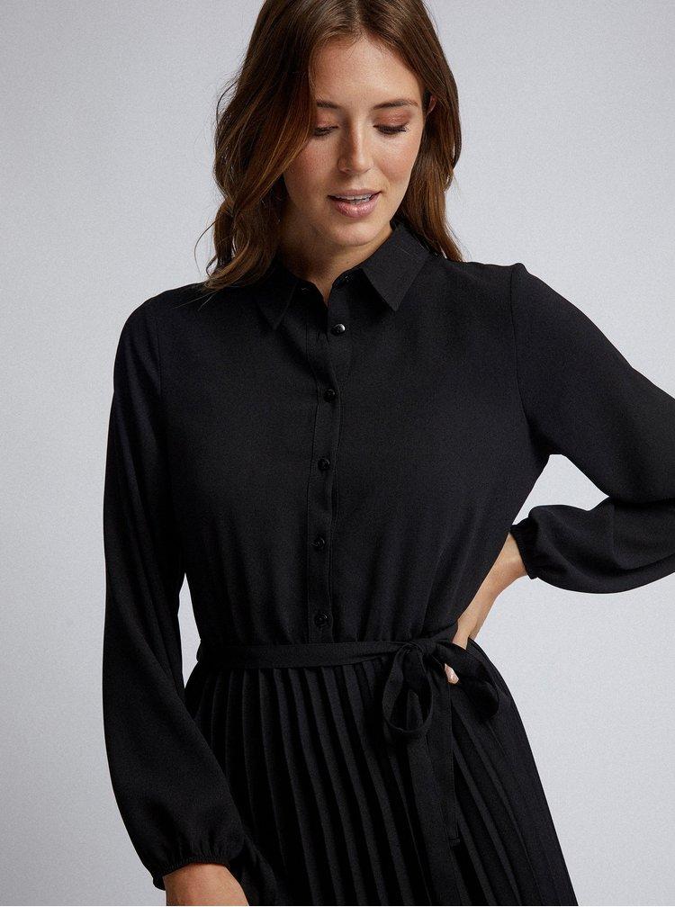 Černé košilové midišaty Dorothy Perkins
