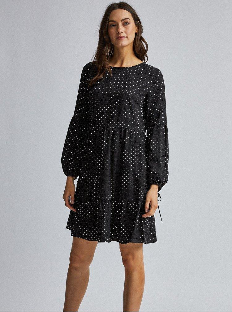 Čierne bodkované šaty s volány Dorothy Perkins