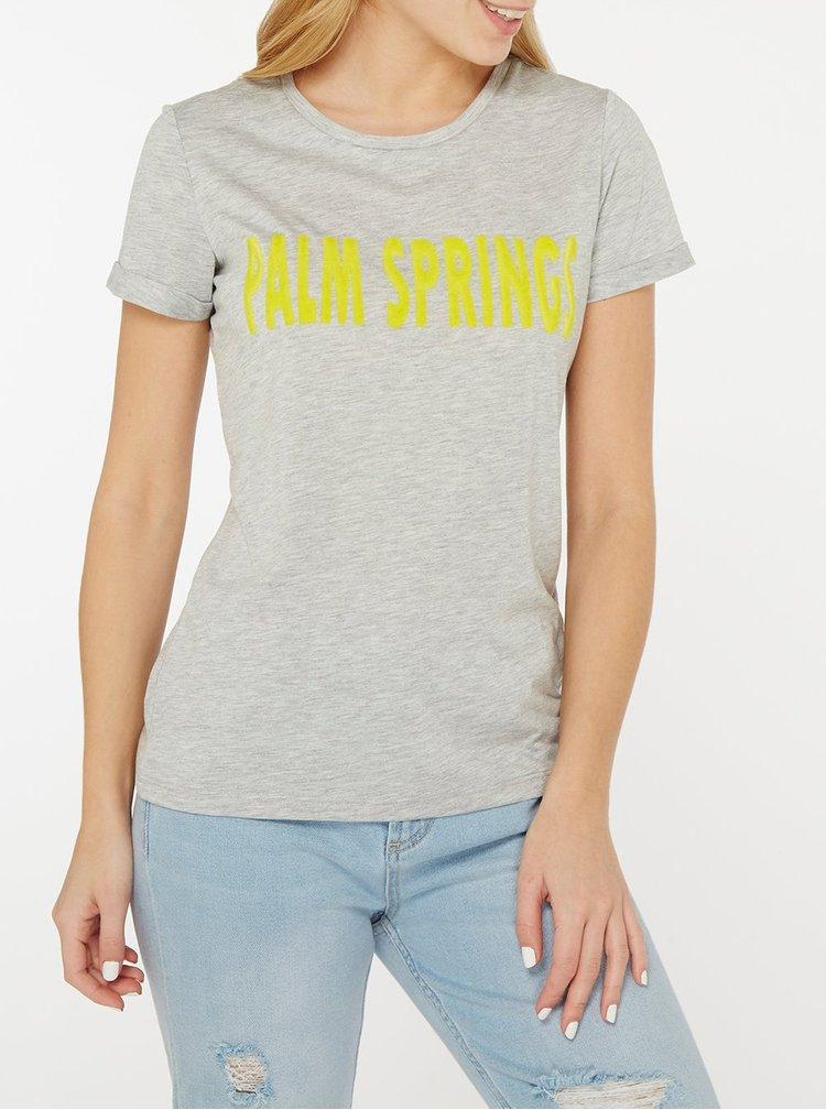 Šedé žíhané tričko s potiskem Dorothy Perkins