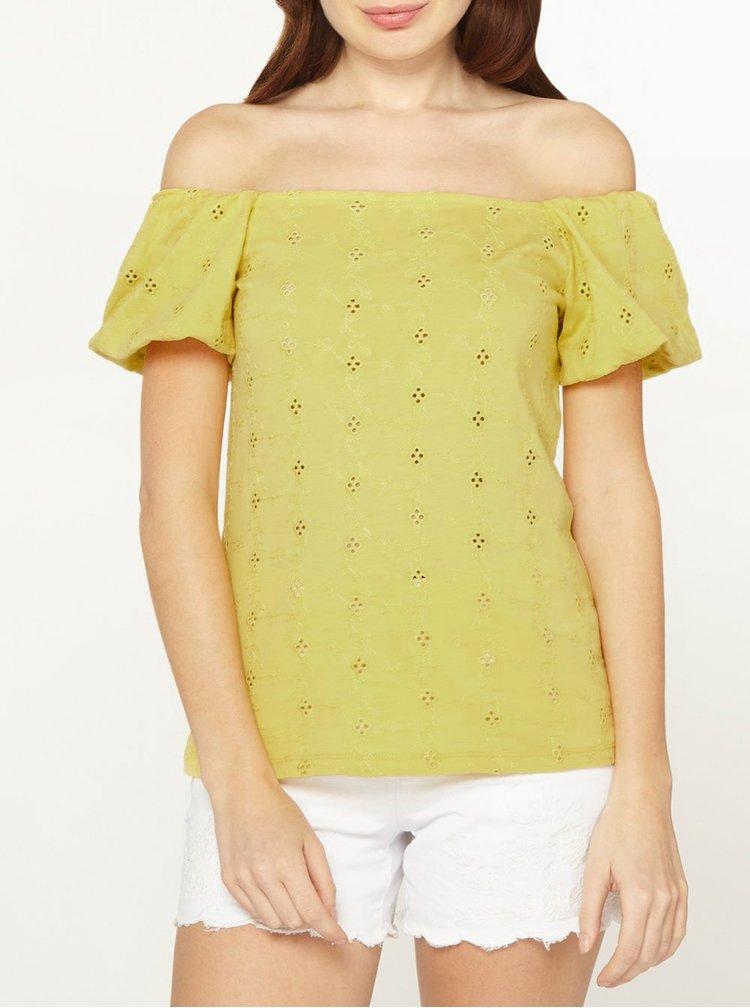 Tricou galben cu decolteu pe umeri Dorothy Perkins