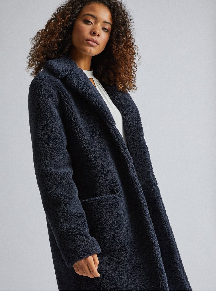 Tmavě modrý kabát z umělé kožešiny Dorothy Perkins Tall