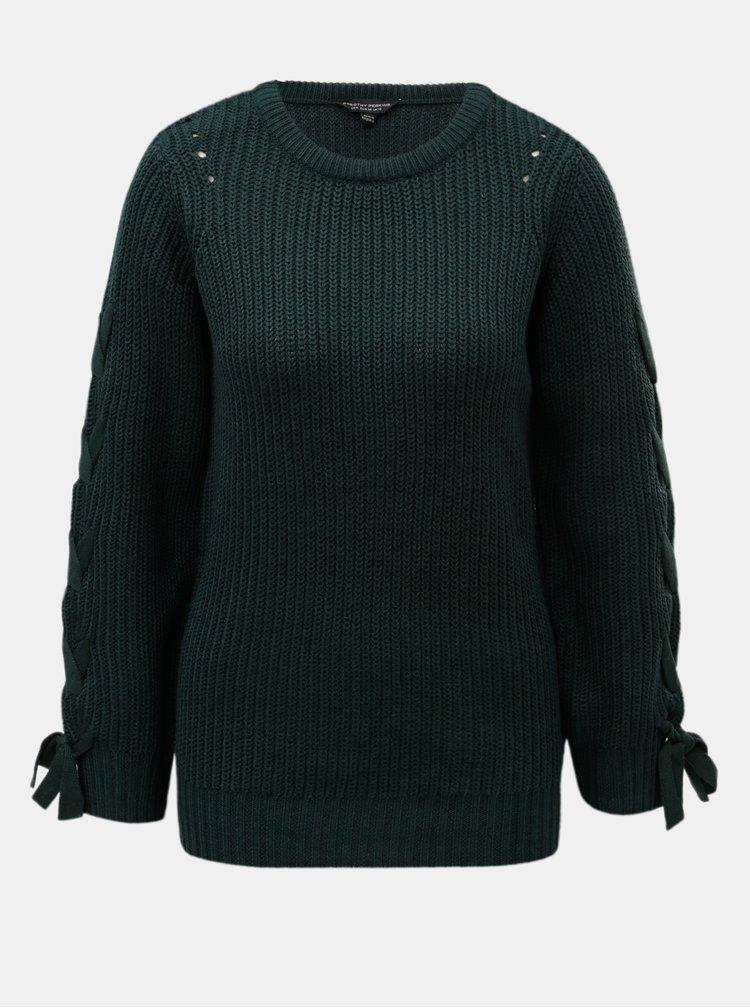 Tmavě zelený svetr se šněrováním na rukávech Dorothy Perkins Tie