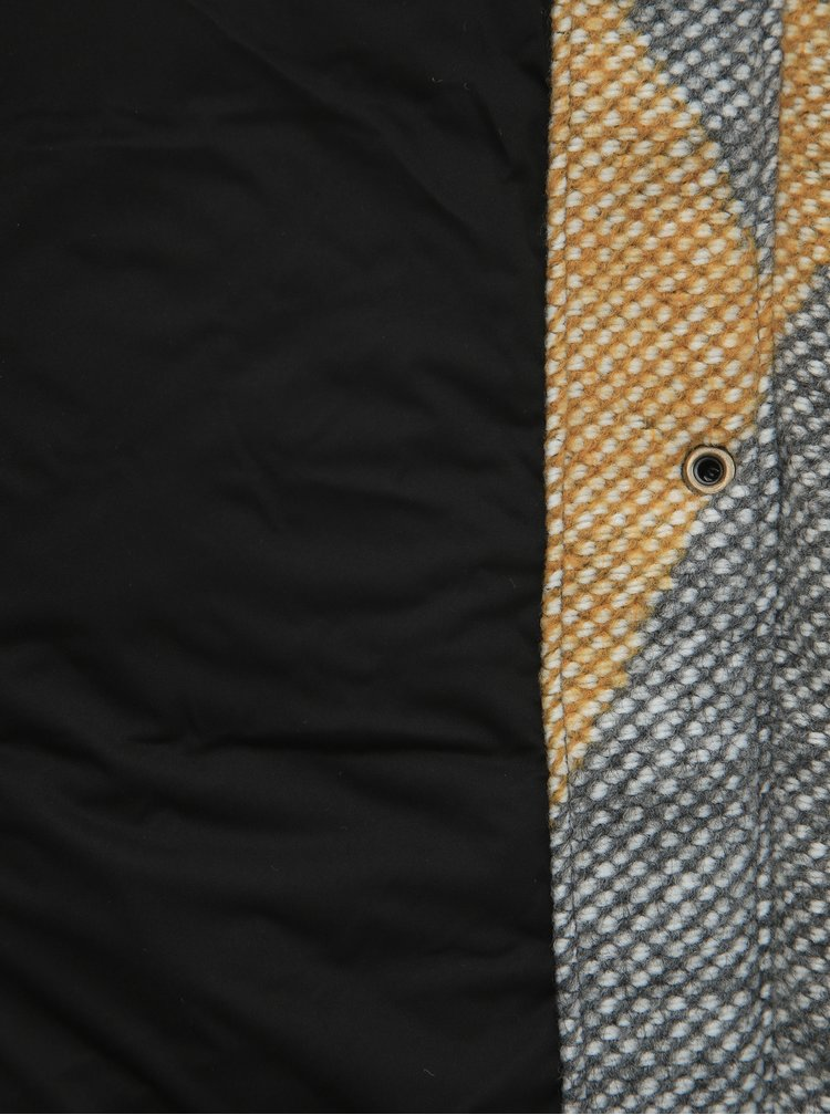 Hořčicovo-šedý vzorovaný funkční kabát Roxy Dawn