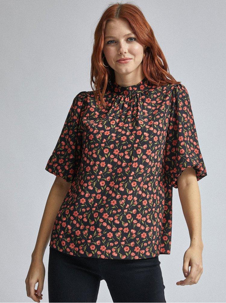 Červeno-černá květovaná halenka Dorothy Perkins