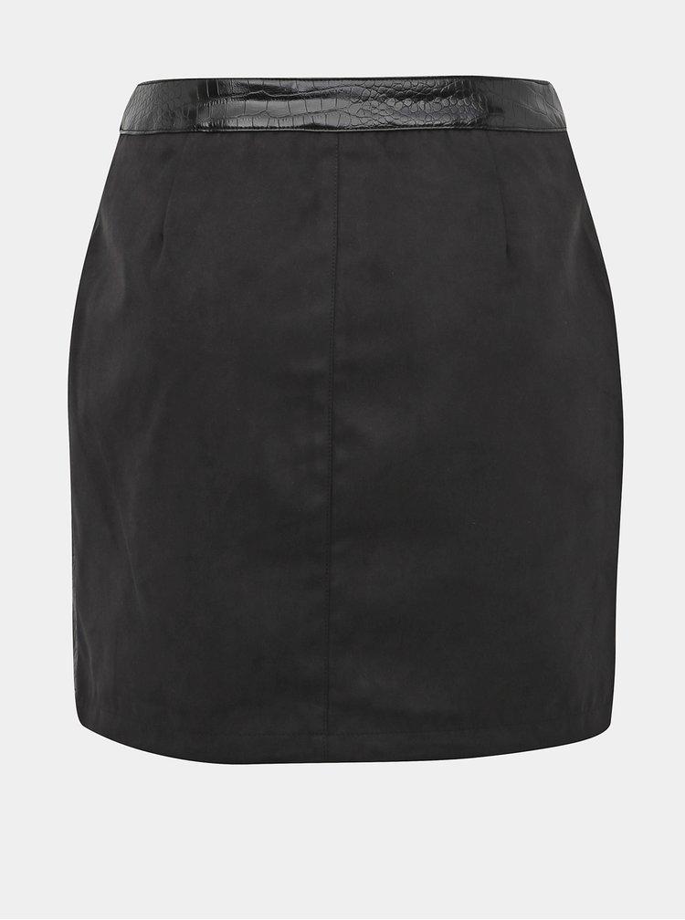 Tmavě šedá minisukně v semišové úpravě a koženkovými detaily Noisy May Masja