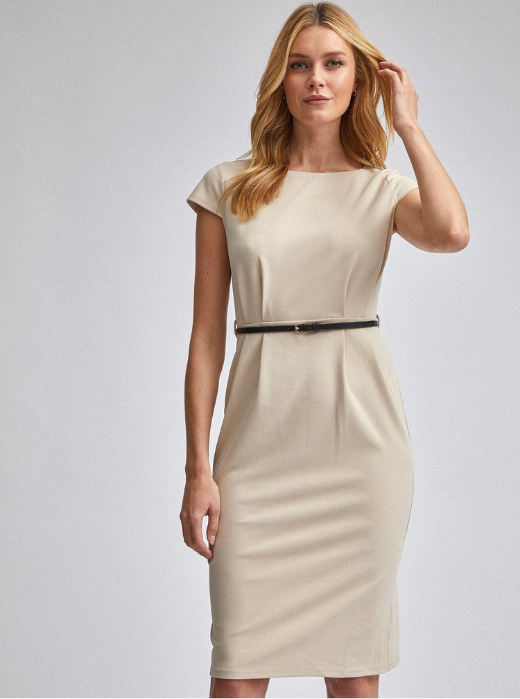 Béžové pouzdrové šaty Dorothy Perkins