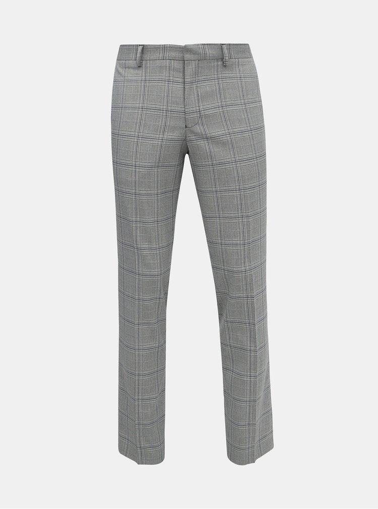 Šedé kostkované oblekové kalhoty Selected Homme Emil