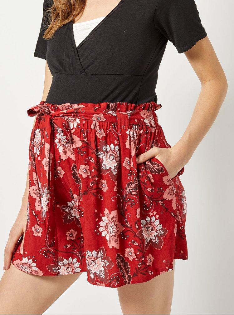Pantaloni scurti rosii florali pentru femei insarcinate Dorothy Perkins Maternity