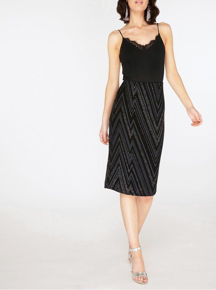 Šedo-černá vzorovaná pouzdrová sukně se třpytivým efektem Dorothy Perkins