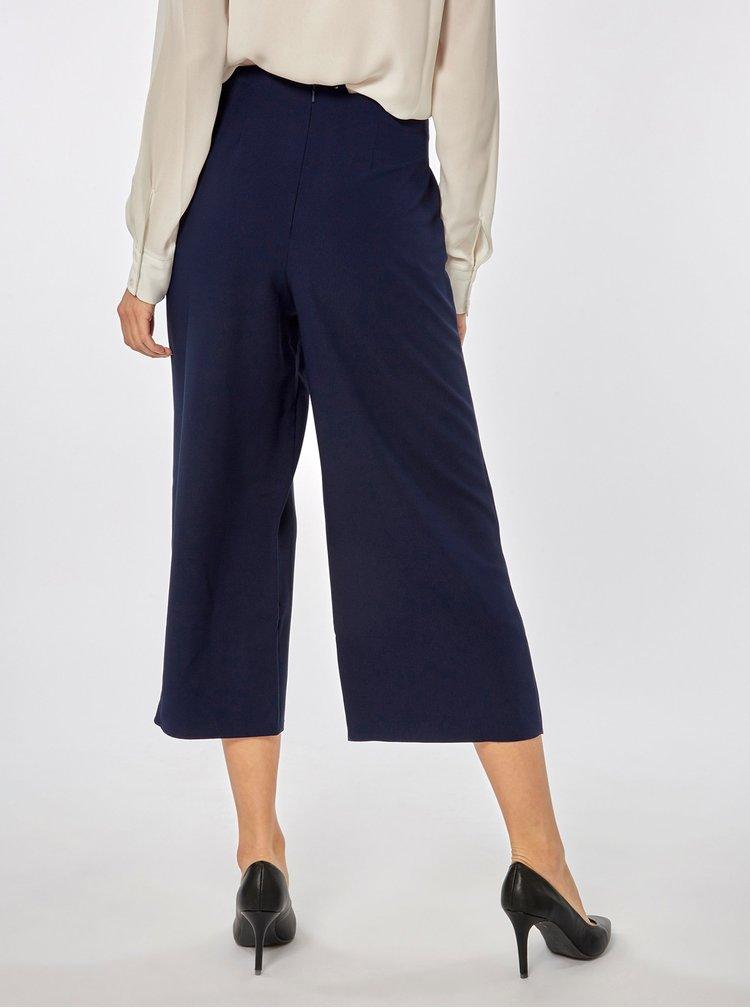 Pantaloni culottes albastru inchis cu talie inalta Dorothy Perkins