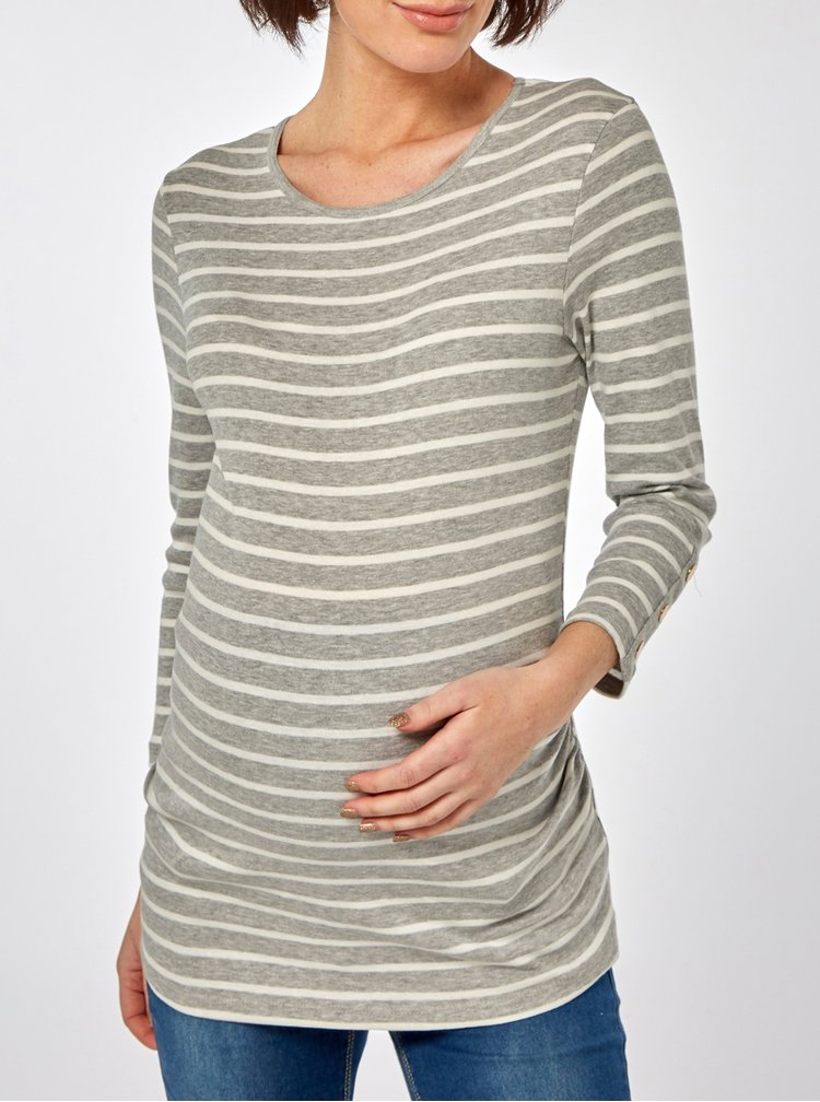 Tricou alb-gri in dungi cu maneci 3/4 pentru femei insarcinate Dorothy Perkins Maternity