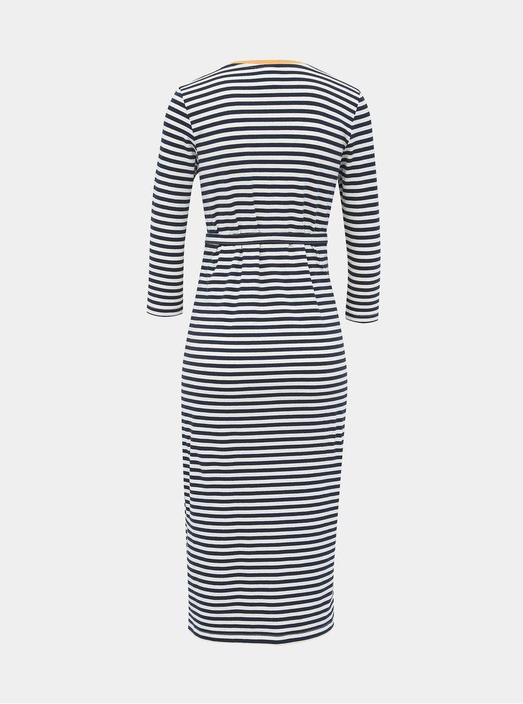 Modro-bílé pruhované těhotenské basic midi šaty Mama.licious Gina