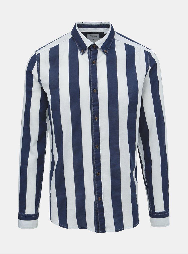 Bílo-modrá pruhovaná slim fit košile ONLY & SONS Sarif