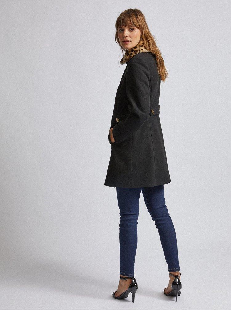 Černý kabát s límcem s hřejivou podšívkou s leopardím vzorem Dorothy Perkins