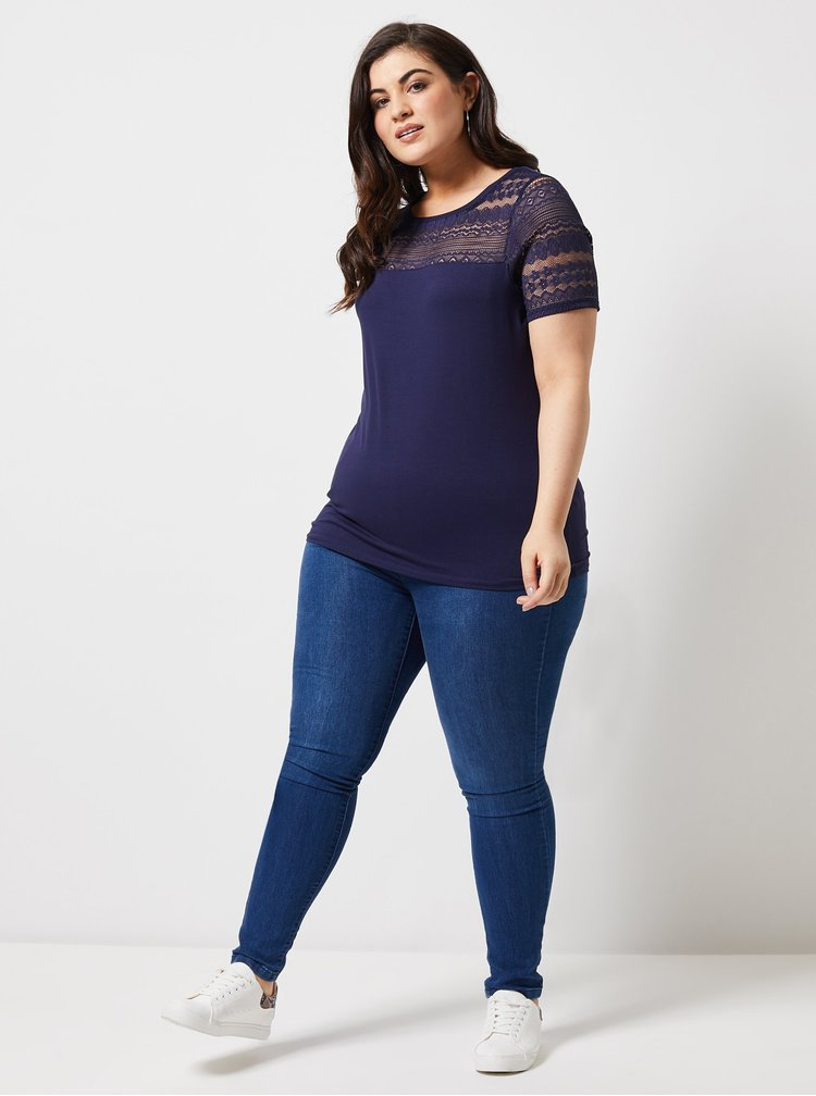 Tmavomodré tričko s čipkou Dorothy Perkins Curve