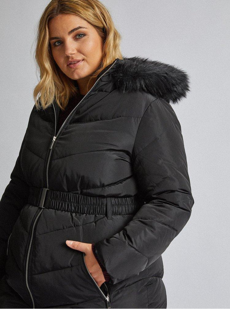 Čierny prešívaný zimný kabát Dorothy Perkins Curve