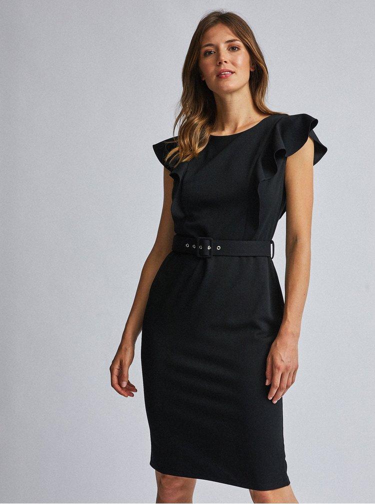 Černé pouzdrové šaty s volány Dorothy Perkins
