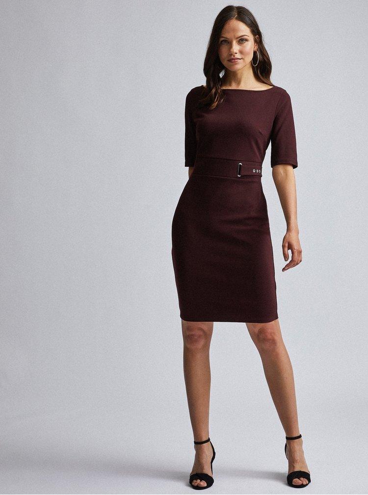 Tmavohnedé púzdrové šaty Dorothy Perkins