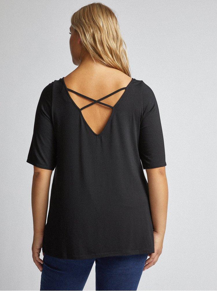 Černé tričko s průstřihy Dorothy Perkins Curve